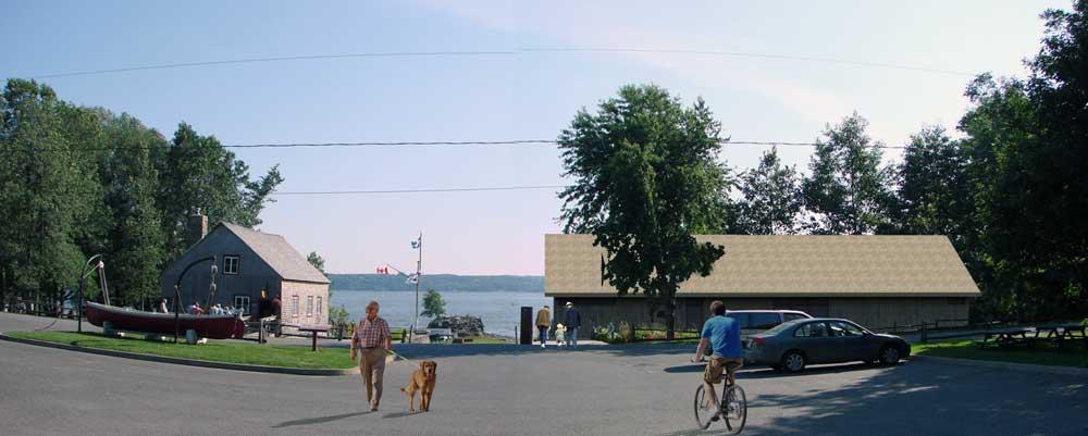 Parc Maritime de Saint-Laurent l'Ile d'Orléans - Perspective avant du pavillon d'accueil proposé.