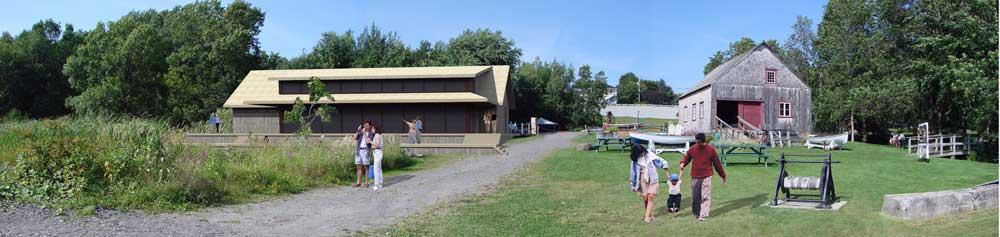 Parc Maritime de Saint-Laurent l'Ile d'Orléans - Vue de la façade arrière du pavillon d'accueil proposé.