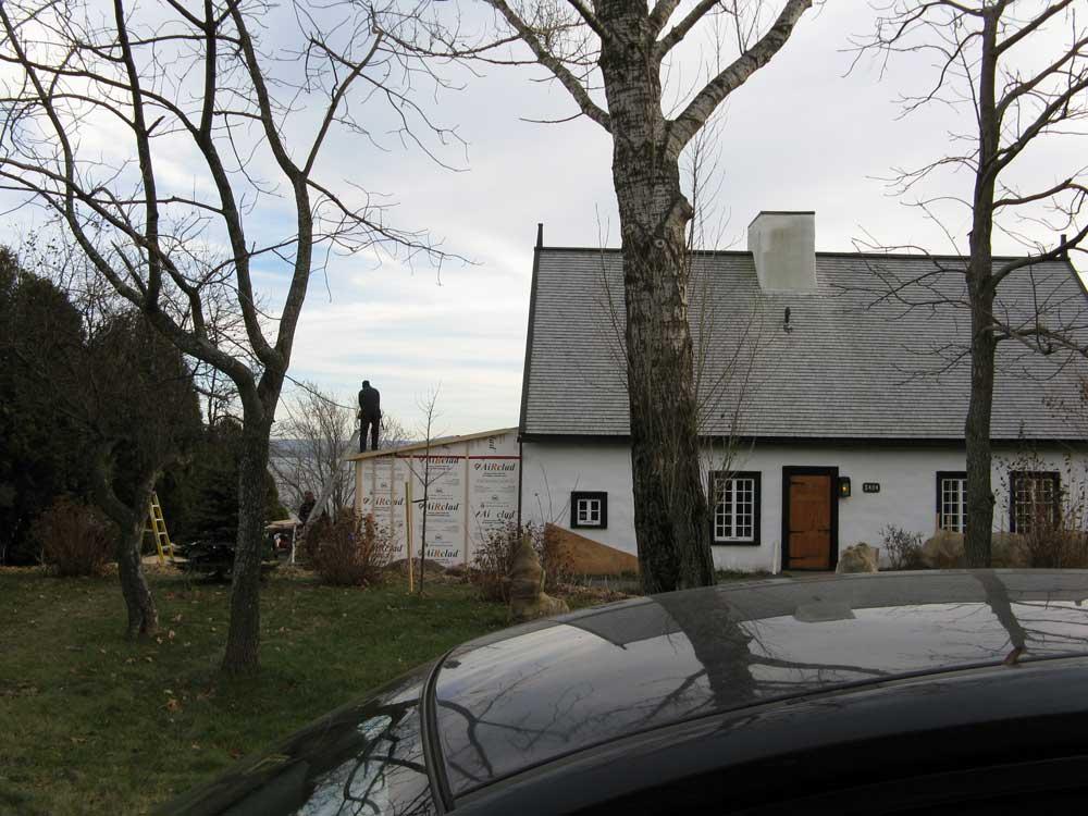 Maison Hébert dit Lecompte - Façade avant pendant les travaux.